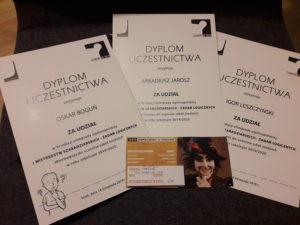 dyplomy uczniów, którzy zwyciężyli w konkursie szaradziarskim