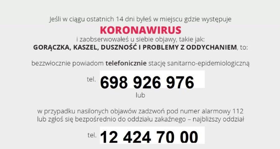 dane informacyjne dotyczące koronawirusa