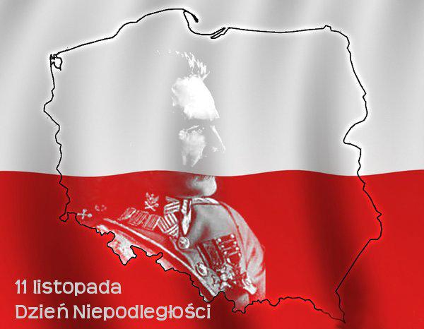 flaga Polski z zarysem granic i postacią Józefa Piłsudskiego