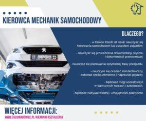 plakat z informacjami o zawodzie kierowca mechanik