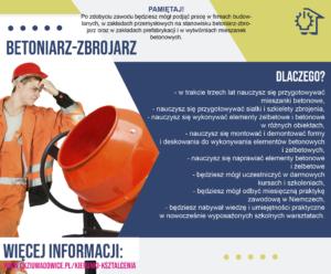 plakat reklamujący zawód betoniarz-zbrojarz