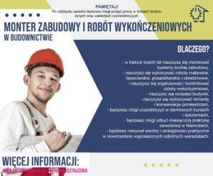 plakat reklamujący zawód monter zabudowy i robót wykończeniowych w budownictwie