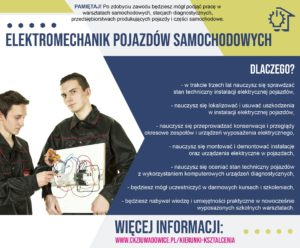plakat reklamujący zawód elektromechanik samochodowy
