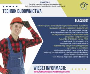 plakat reklamujący zawód technik budownictwa