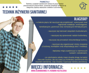 plakat reklamujący zawód technik -hydraulik