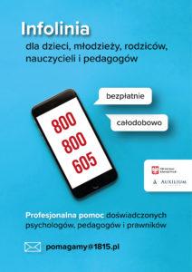 plakat reklamujący infolinię