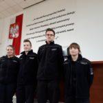 czterej uczniowie liceum policyjnego podczas turnieju